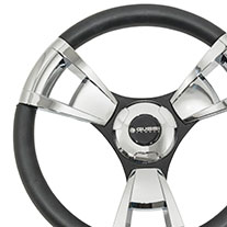 Gussi Model 13 Black/Chrome Steering Wheel For All Yamaha Models