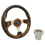 Club Car Precedent Woodgrain Rally Steering Wheel Chrome Kit (Fits 2004-Up)