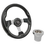 Club Car Precedent Carbon Fiber Rally Steering Wheel Chrome Kit (Fits 2004-Up)