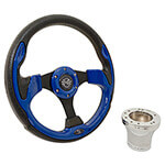 Club Car Precedent Blue Rally Steering Wheel Chrome Kit (Fits 2004-Up)