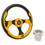 Club Car DS Yellow Rally Steering Wheel Chrome Adapter Kit (Fits 1982-Up)