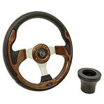 E-Z-GO Woodgrain Rally Steering Wheel Black Adaptor Kit (Fits 1994.5-Up)