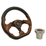 E-Z-GO Woodgrain Racer Steering Wheel Chrome Adaptor Kit (Fits 1994.5-Up)