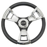 Gussi Model 13 Black/ Chrome Steering Wheel (Models Yamaha G16-Drive 2)