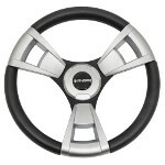 Gussi Italia® Model 13 Black/ Brushed Steering Wheel For All Club Car Precedent Models