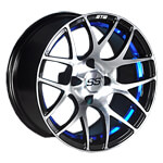 "GTW Pursuit 14"" Machined/ Blue Wheel (3:4 Offset)"