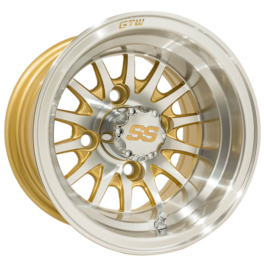 10 Inch Wheels For Golf Cart : Gtw medusa inch machined gold wheel offset