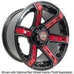 14″ GTW Tarantula Black Wheel with Optional Color Inserts (3:4 Offset)