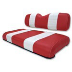 Club Car DS Red /  White Seat Cushion Set (Fits 2000-2004)