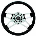 Club Car DS Black Challenger Steering Wheel /  Chrome Spokes (Fits 1984-2006)
