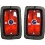 12-Volt Taillight Set W/  Black Bezel and Glass Blue Dot (Universal Fit)