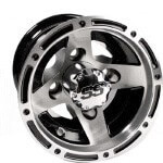 8x7 Aluminum Ranger Wheel Machined /  Black (3:4 Offset)
