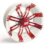 10x7 Red /  White SS Tempest Wheel (3:4 Offset)