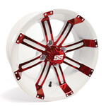 12x6 Red /  White Tempest Wheel (2:4 Offset)