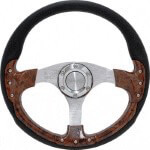Club Car DS Pursuit 14'' Wood Steering Wheel W/  Kit (Fits 1982-Up)