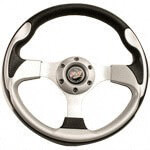 "12.5"" SIlver Steering Wheel W/ Chrome Adaptor for Yamaha"