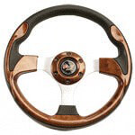Woodgrain E-Z-GO Chrome Steering Wheel Kit (Excludes RXV)