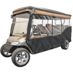 "Red Dot 3-Sided Stock Sunbrella Enclosure & Solid Valance for E-Z-GO TXT Triple Track 120"" Top"