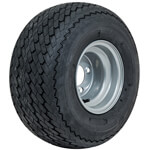 8 Inch GTW Topspin Tire & Silver Steel Wheel Assembly