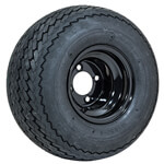 8 Inch GTW Topspin Tire & Black Steel Wheel Assembly