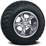 Set of (4) 10 inch Godfather Wheels on A/ T Tires