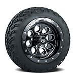 Set of (4) 12 inch Rally Beadlock Black Wheels on A/ T Tires