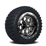 Set of (4) 14 inch Black Rally Beadlock Wheels on A/ T Tires