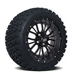 Set of (4) 14 inch Diesel Matte Black Wheels on A/ T Tires