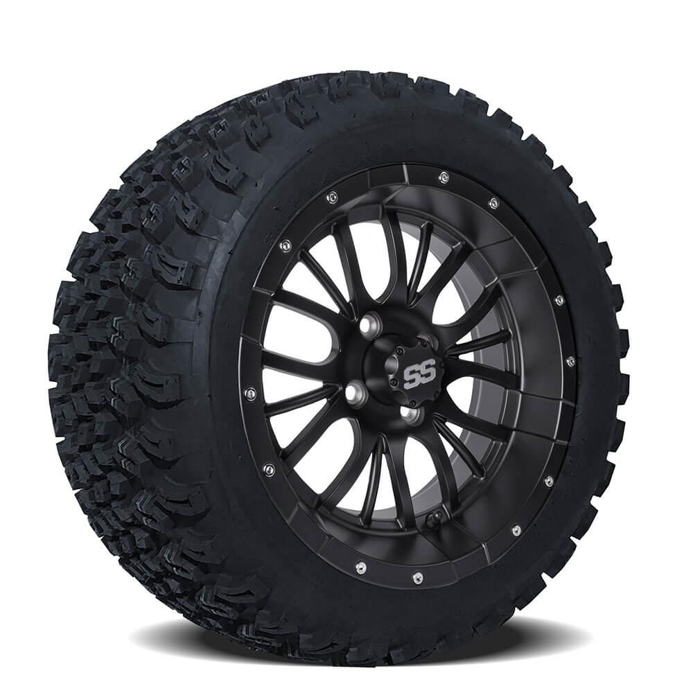 set of 4 14 inch diesel matte black wheels on a t tires. Black Bedroom Furniture Sets. Home Design Ideas