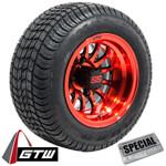 Set of (4) GTW 10 inch Medusa Red & Black Wheels on Lo-Profile Tires
