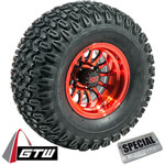 Set of (4) GTW 10 inch Medusa Red & Black Wheels on A/ T Tires