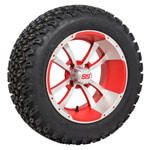 Set of (4) 14 inch Storm Trooper Machined & Red Wheels on A/ T Tires