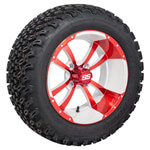 Set of (4) 12 inch Strom Trooper White & Red Wheels on A/ T Tires
