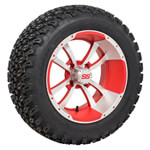Set of (4) 12 inch Strom Trooper Machined & Matte Red Wheels on A/ T Tires