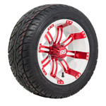 Set of (4) 12 inch Tempest White & Red Wheels on Lo-Pro Street Tires