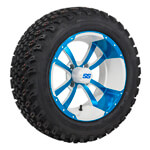 Set of (4) 10 inch Storm Trooper White & Blue Wheels on A/ T Tires
