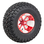 Set of (4) 10 inch Storm Trooper White & Red Wheels on A/ T Tires