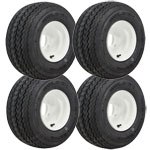 Set of (4) 8 inch White Steel Wheels on Mounted on Kenda Tires