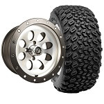 Set of (4) 14 inch Rally Beadlock Machined & Black Wheels on A/ T Tires