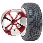 Set of (4) 14 inch Storm Trooper White & Red Wheels on Lo-Pro Tires