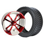 Set of (4) 10 inch Storm Trooper White & Red Wheels on Lo-Pro Tires