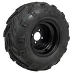 "Set of (4) 10"" Black Steel Wheels On Mud Tires"