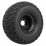 Set of (4) 10 inch Black Steel Wheels Mounted on GTW A/ T Tires