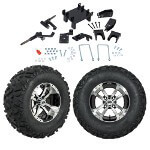 "GTW 5"" Lift w/ 12"" Storm Trooper Machined/ Black Wheel & Barrage Mud Tire For E-Z-GO RXV (2008-Up)"