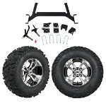 "GTW 5"" Lift w/ 12"" Storm Trooper Machined/ Black Wheel & Barrage Mud Tire For E-Z-GO TXT (2001.5-Up)"