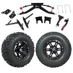 "GTW 6"" Lift w/ 12"" Specter Matte Black Wheel & Barrage Mud Tire For Club Car DS (2004.5-Up)"