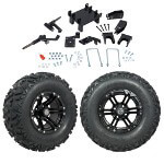 "GTW 5"" Lift w/ 12"" Specter Matte Black Wheel & Barrage Mud Tire For E-Z-GO RXV (2008-Up)"