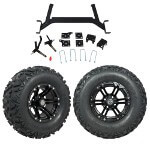 "GTW 5"" Lift w/ 12"" Specter Matte Black Wheel & Barrage Mud Tire For E-Z-GO TXT (2001.5-Up)"
