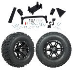 "GTW 5"" Lift w/ 12"" Specter Matte Black Wheel & Barrage Mud Tire For Yamaha (G29/ Drive)"