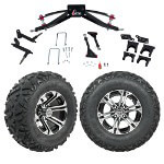 "GTW 6"" Lift w/ 12"" Specter Machined/ Black Wheel & Barrage Mud Tire For Club Car Precedent (2004-Up)"
